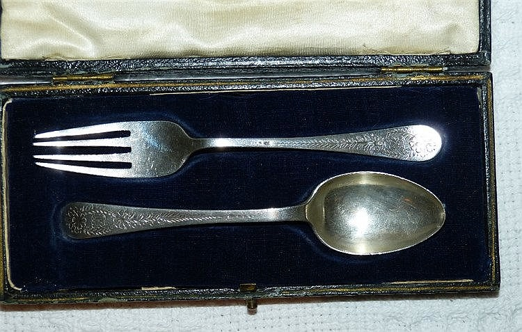 2 Similar Sheffield Silver Child's Fork and Spoon having chased f