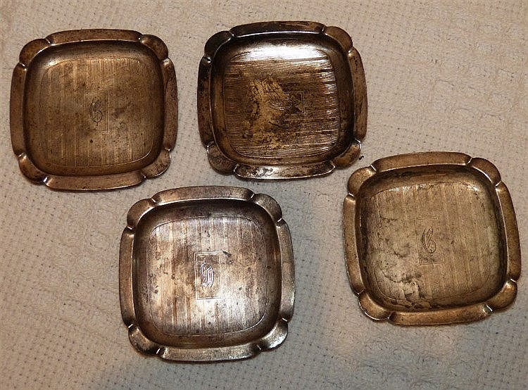 A Set of 4 Sterling Silver Small Square Ashtrays having engine tu