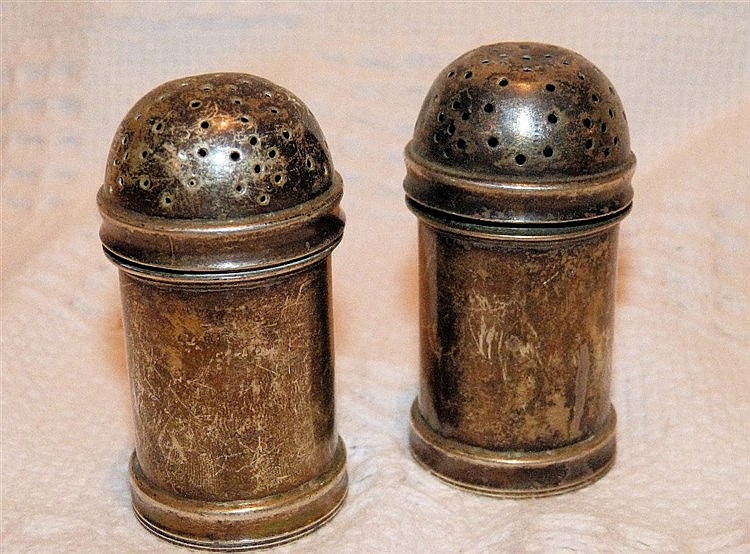 A Pair of London Silver Bulbous Shape Pepper Pots, 7cm high, 4.6o