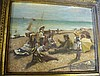 A Modern Oil on Canvas depicting children seated on beach, in gil
