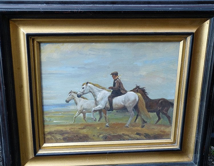 After Munnings Modern Oil on Canvas depicting figure riding bare
