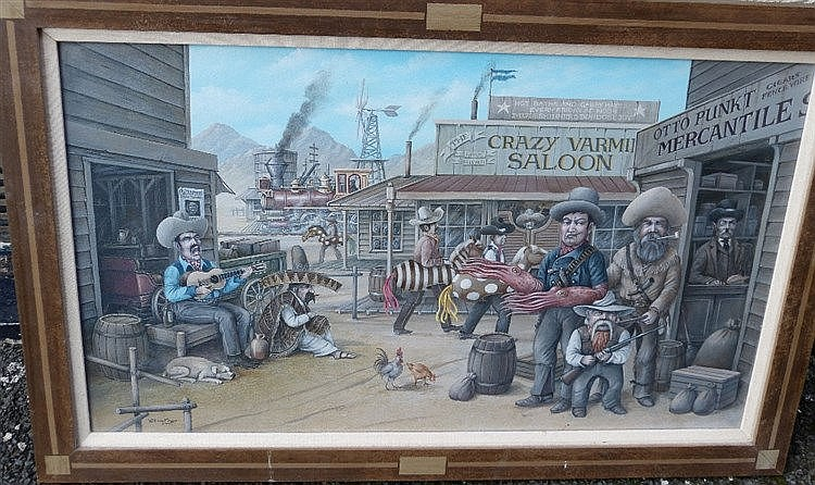 Edwin Cripps Oil on Canvas depicting Wild West scene, signed and