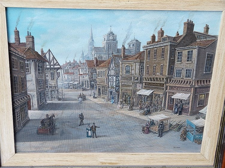 Edwin Cripps Oil on Canvas depicting figures and horse drawn carr