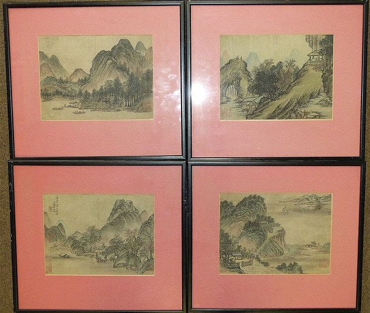 4 Oriental Silk Pictures depicting river landscapes, signed in bl