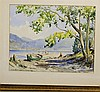 C, De T Cunningham Pair of Watercolours depicting figures on lake