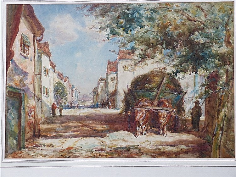 Thomas William Morley Watercolour depicting figures and hay cart