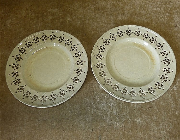 A Pair of Creamware Round Plates having pierced rims, 22cm diamet