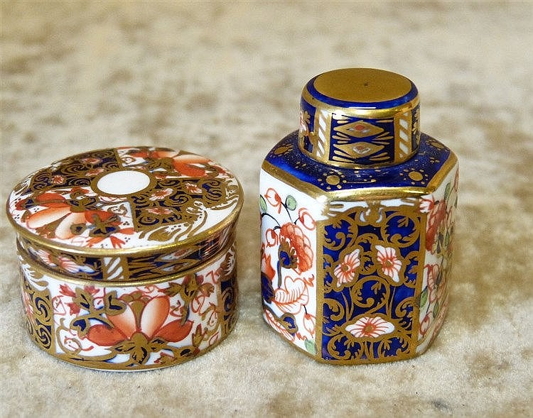 A Royal Crown Derby Imari Pattern Miniature Hexagonal Ginger Jar