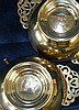 A Pair of Edward VII Silver Round 2-Handled Salts with pierced ha
