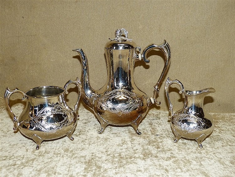 A 3-Piece Silver Plated Bulbous Shape Tea Service having embossed