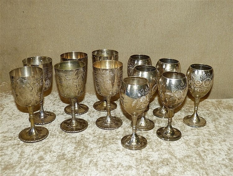A Set 6 Silver Plated Wine Goblets on round sweeping bases, also