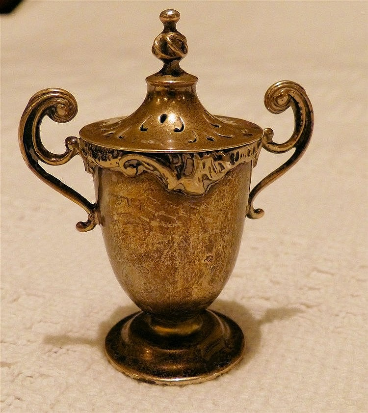 A Small Round Bulbous 25-Handled Lidded Pepper Pot in form of a t