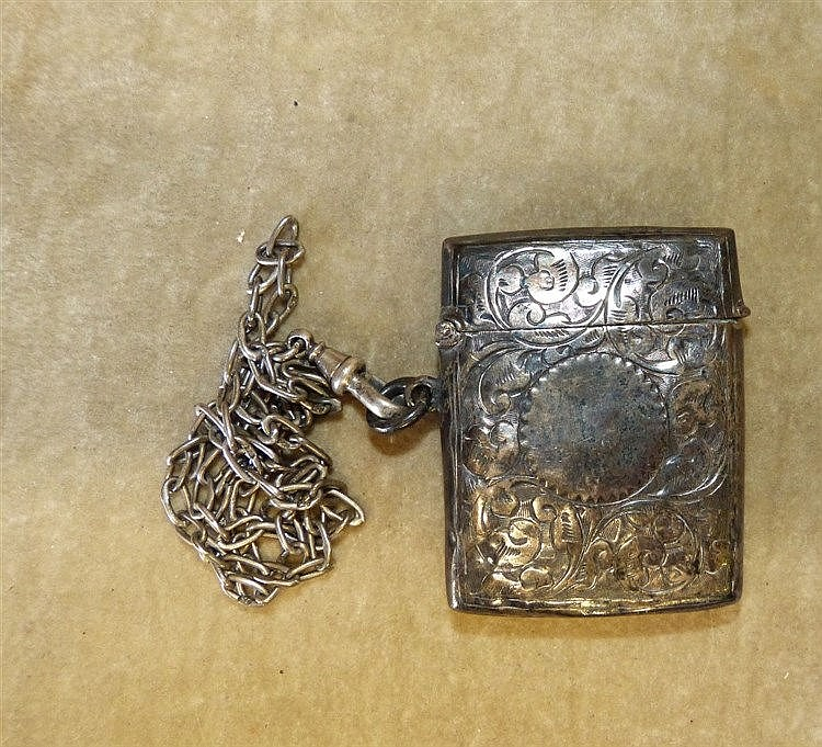 A Chester Silver Vesta Case having hinged lid with embossed flora