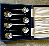 A Set of 6 Birmingham Silver Coffee Bean Spoons in fitted blue le