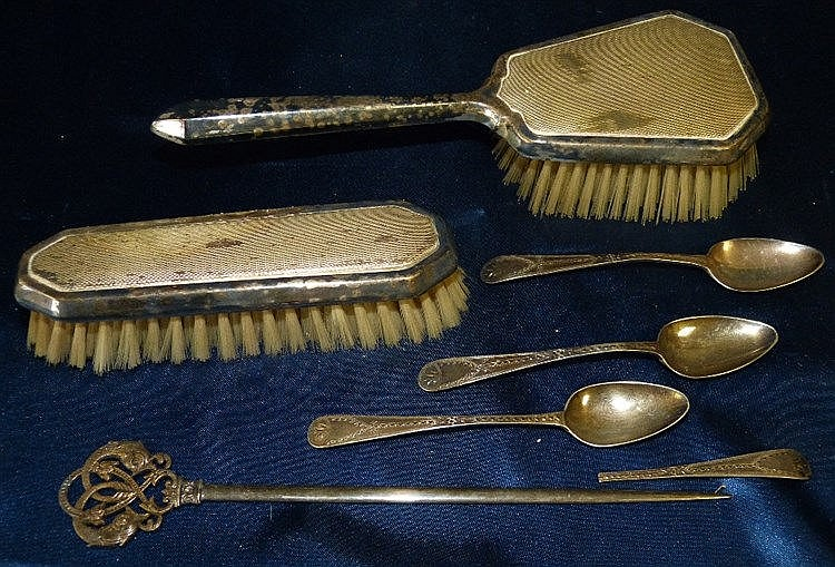 2 Silver Mounted Hairbrushes, 3 Bright Cut Silver Teaspoons and a