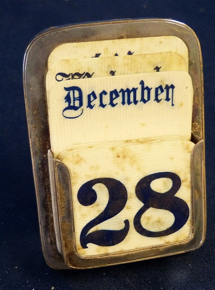A Birmingham Silver Desk Calendar set with Ivory numerals etc, 8c