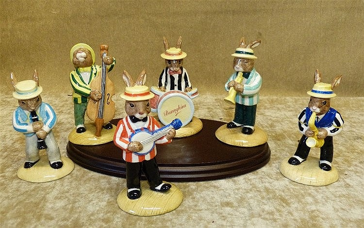 A Set of 6 Royal Doulton Bunnykins Jazz Bands