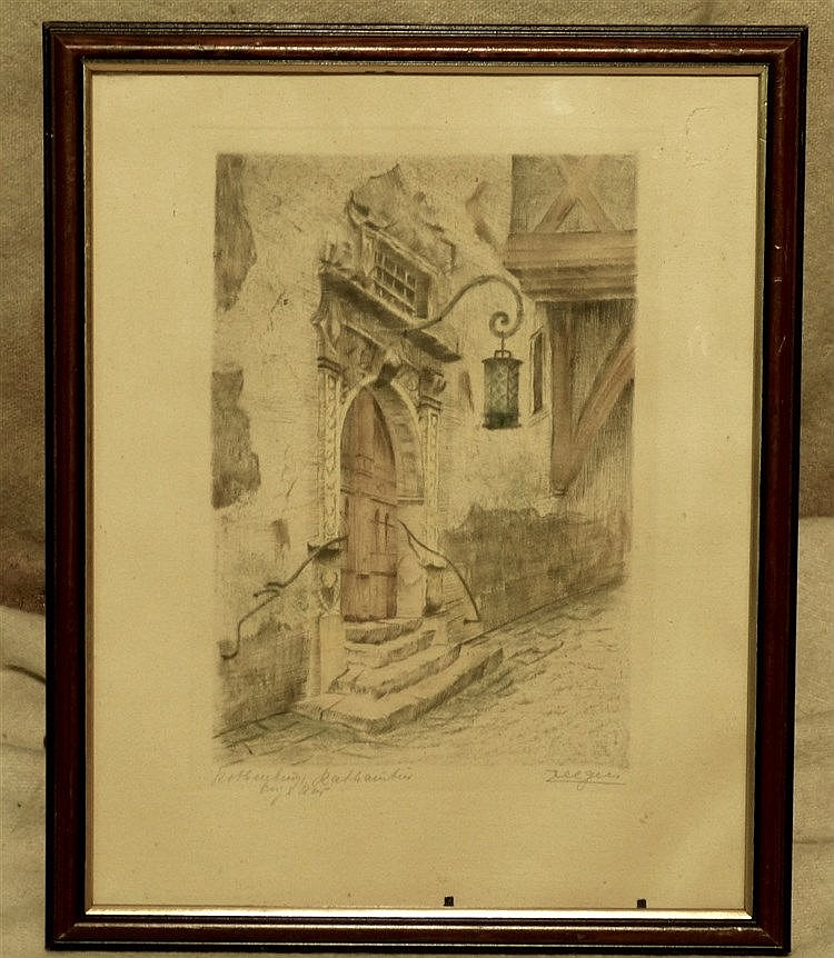 Zeeger Coloured Print depicting doorway, indistinctly signed in m