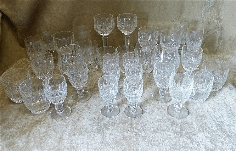 A Set of 6 Waterford Small Drinking Glasses having thumb pattern