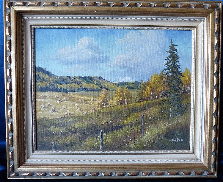 Marion E Barker Canadian Oil on Canvas, open landscape