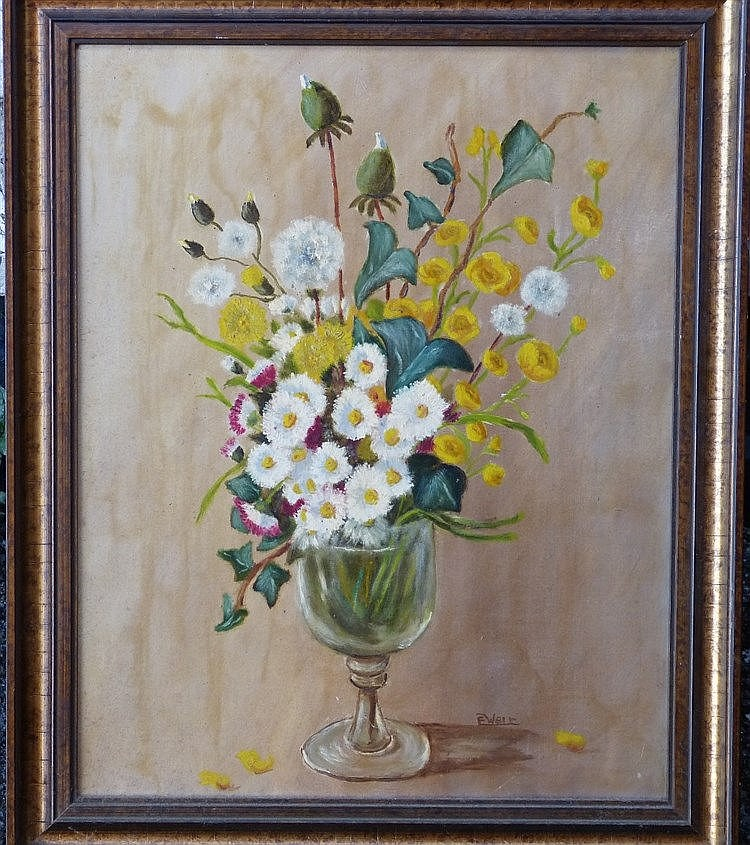 E Weir Oil on Board, Still Life Goblet of Flowers, signed in gilt