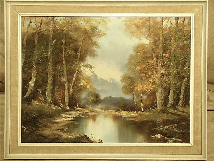 O Schmich Oil on Canvas, wooded river landscape with mountains in