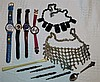 4 Various Modern Wrist Watches, a Rolex souvenir teaspoon, a cher