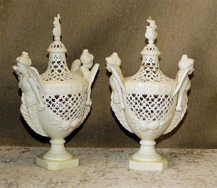 A Pair of Leeds Pottery Creamware Urn Shaped Lidded Pots having w