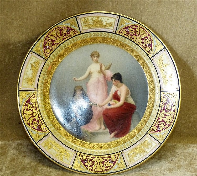 A Vienna Round Porcelain Plate having multicoloured centre depict