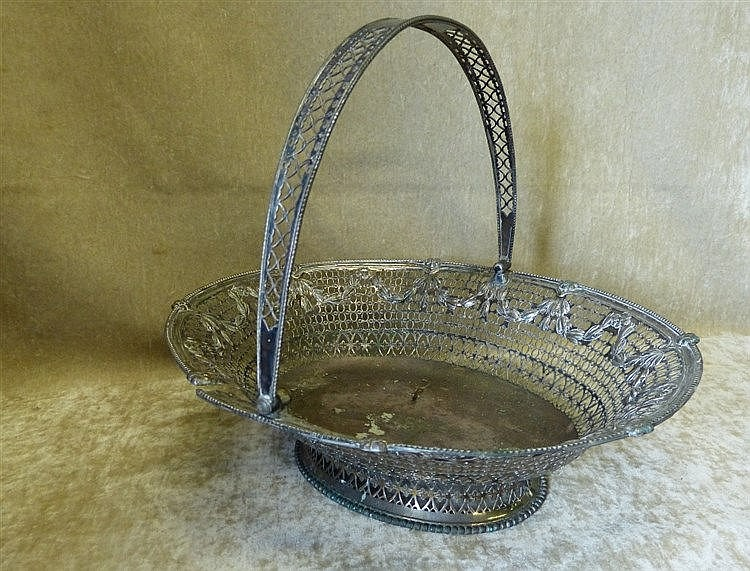 A Georgian Silver Plated Oval Cake Basket having swing overhead h