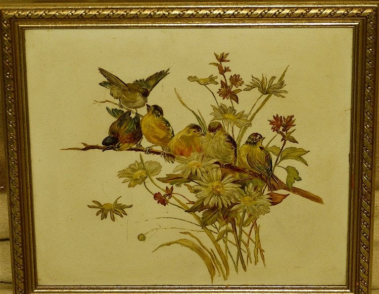 An Oil on Opaline depicting 6 perched birds, unsigned, in silvere