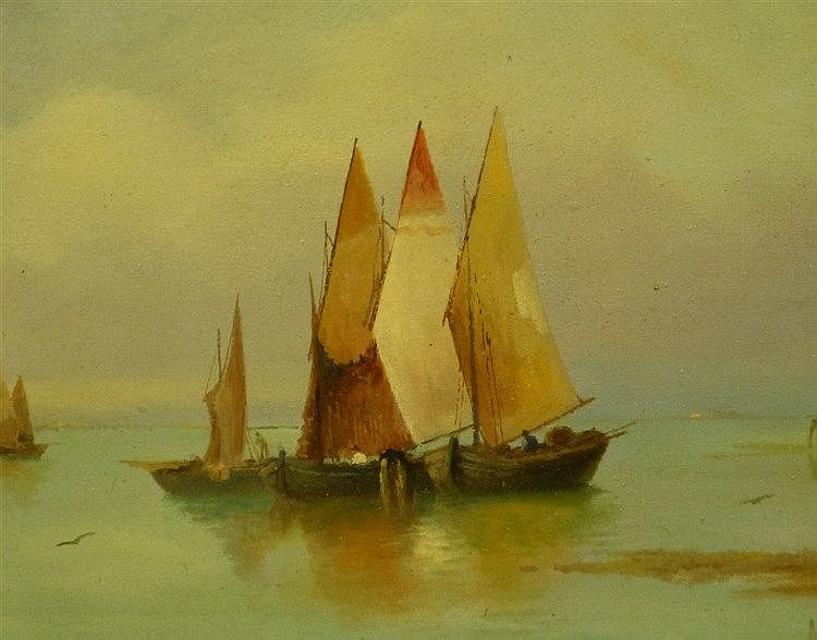 A Gabardi? Oil on Board depicting moored sailing boats in calm wa