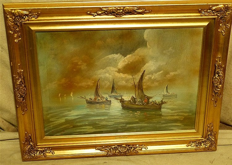 V Bonetti Modern Oil on Canvas depicting various figures in boats