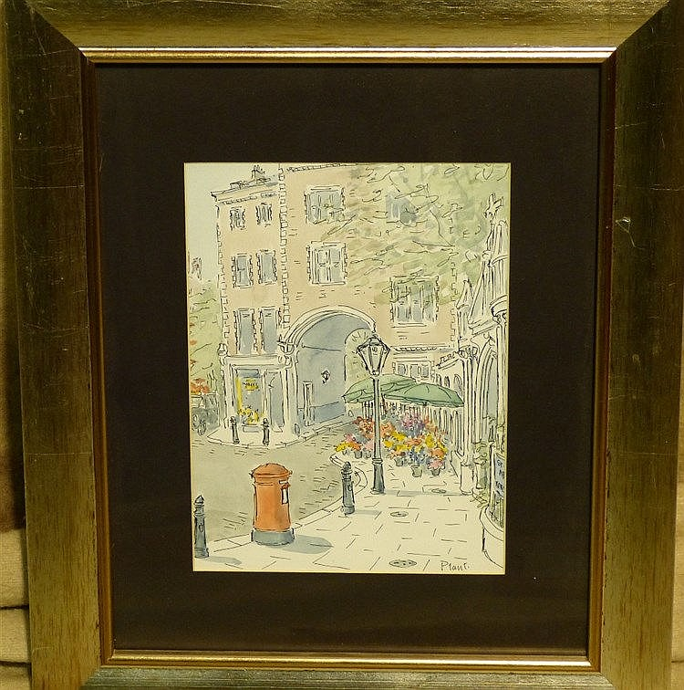 Plant Watercolour depicting street scene with arch in background