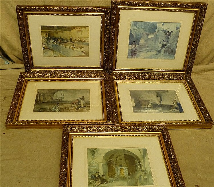 5 x Various Russell Flint Coloured Prints, all in gilt frames, la