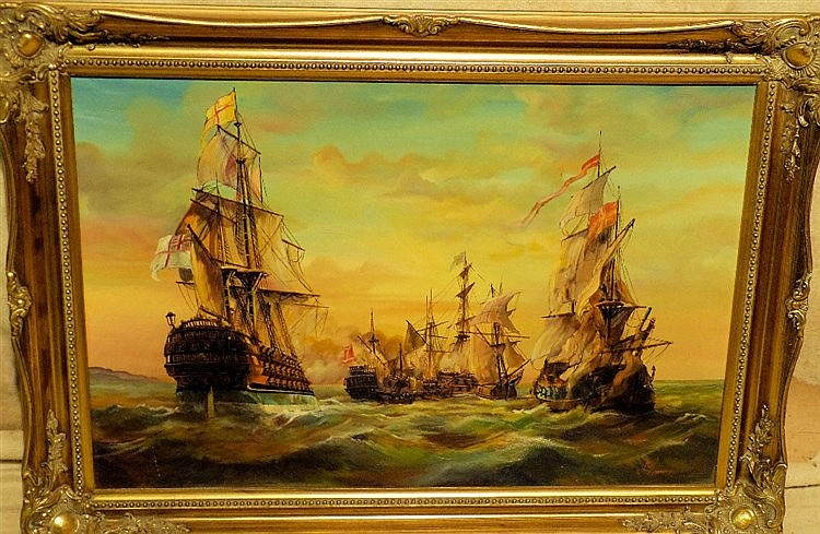 A Modern Oil on Canvas depicting battle of Galleons indistinctly