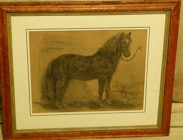A Pencil Sketch depicting horse in stable, in walnut frame, 32cm