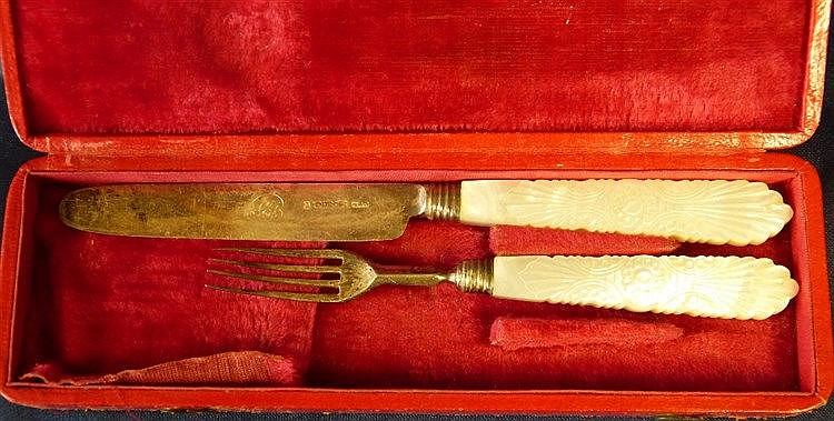 A William IV Silver Child's Knife and Fork having mother of pearl