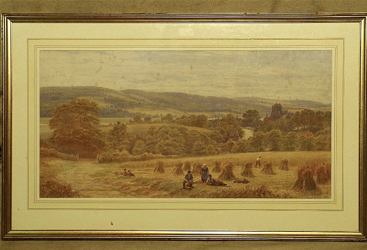 A Watercolour depicting farmers making haystacks in field, indist