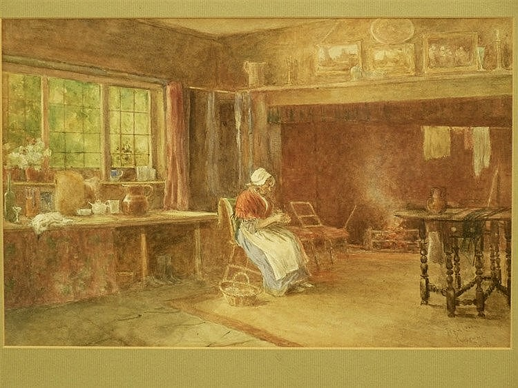 Fred Cook, Rudgwick, Sussex Watercolour depicting elderly seated