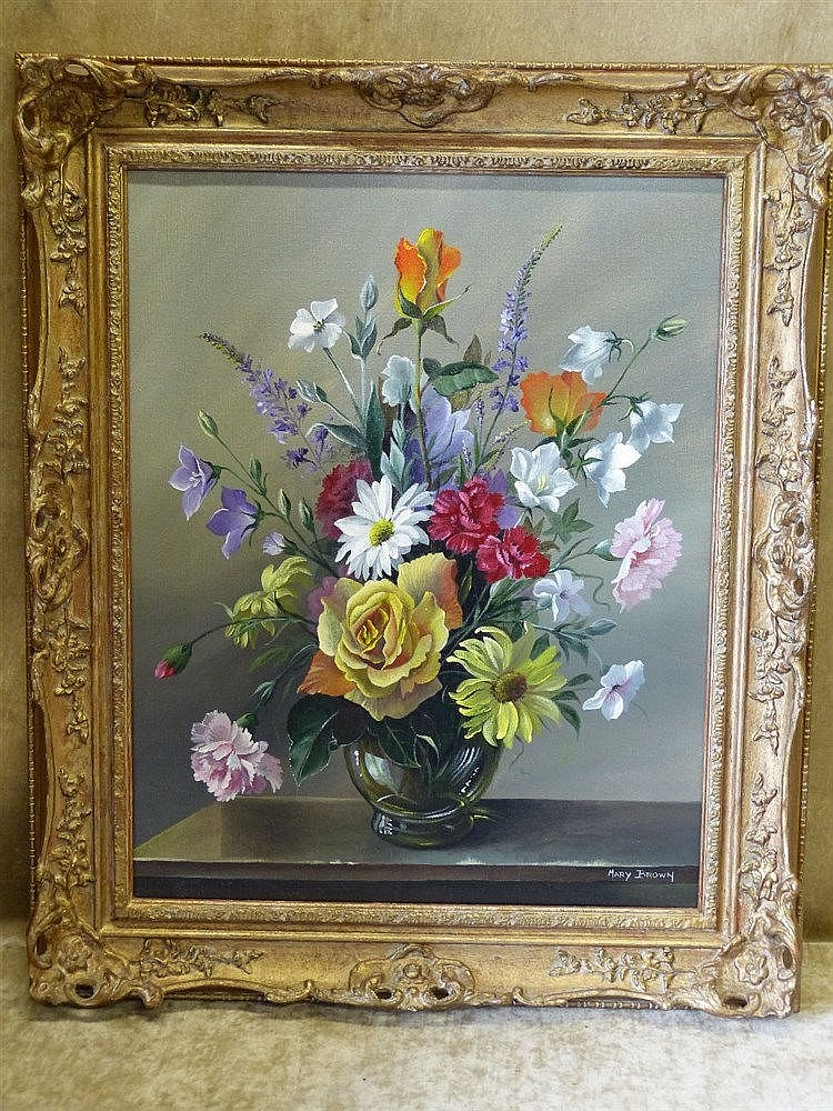 Mary Brown Modern Oil on Canvas, Still Life Vase of Flowers, sign