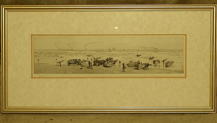 WL Wyllie Signed Black and White Etching depicting figures unload