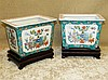 A Pair of 20th Century Oriental Rectangular Jardinière's on white