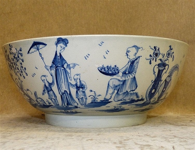 An 18th Century English China Fruit Bowl on blue and white ground