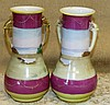 A Pair of Noritake Style Bulbous Trumpet Shape 2-Handled Vases on