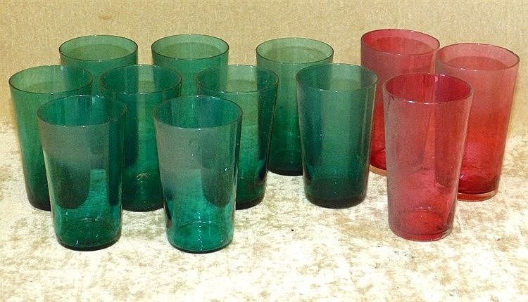 A Set of 9 Green Glass Tumblers, 9cm high, also 3 similar ruby gl