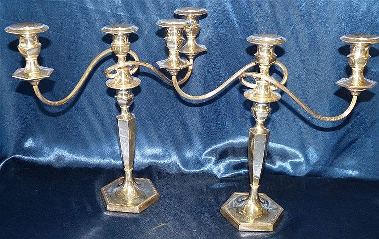 A Pair of George V 2-Light 3 Branch Candelabras on turned hexagon