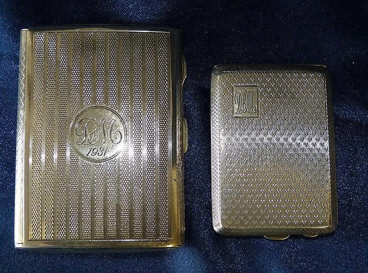 A Birmingham Silver Cigarette Case having engine turned decoratio