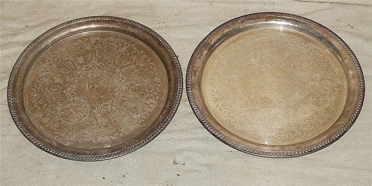 A Pair of Silver Plated Round Trays having gadroon rims with engr