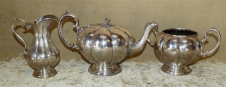 A 3-Piece Silver Plated Bulbous Melon Shaped Tea Service having e